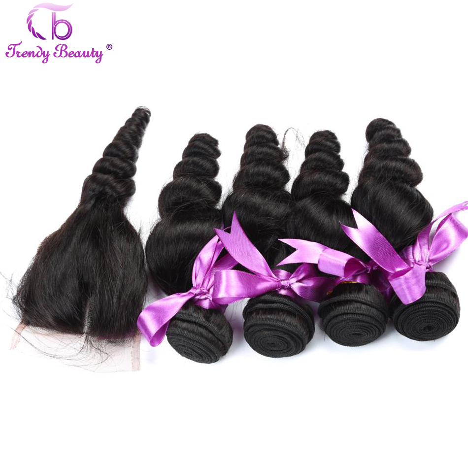 Trendy Beauty Peruvian Loose Wave With Closure Non-Remy 100% Human Hair Weave 4 Bundles With Free/Middle/Three Part Closure