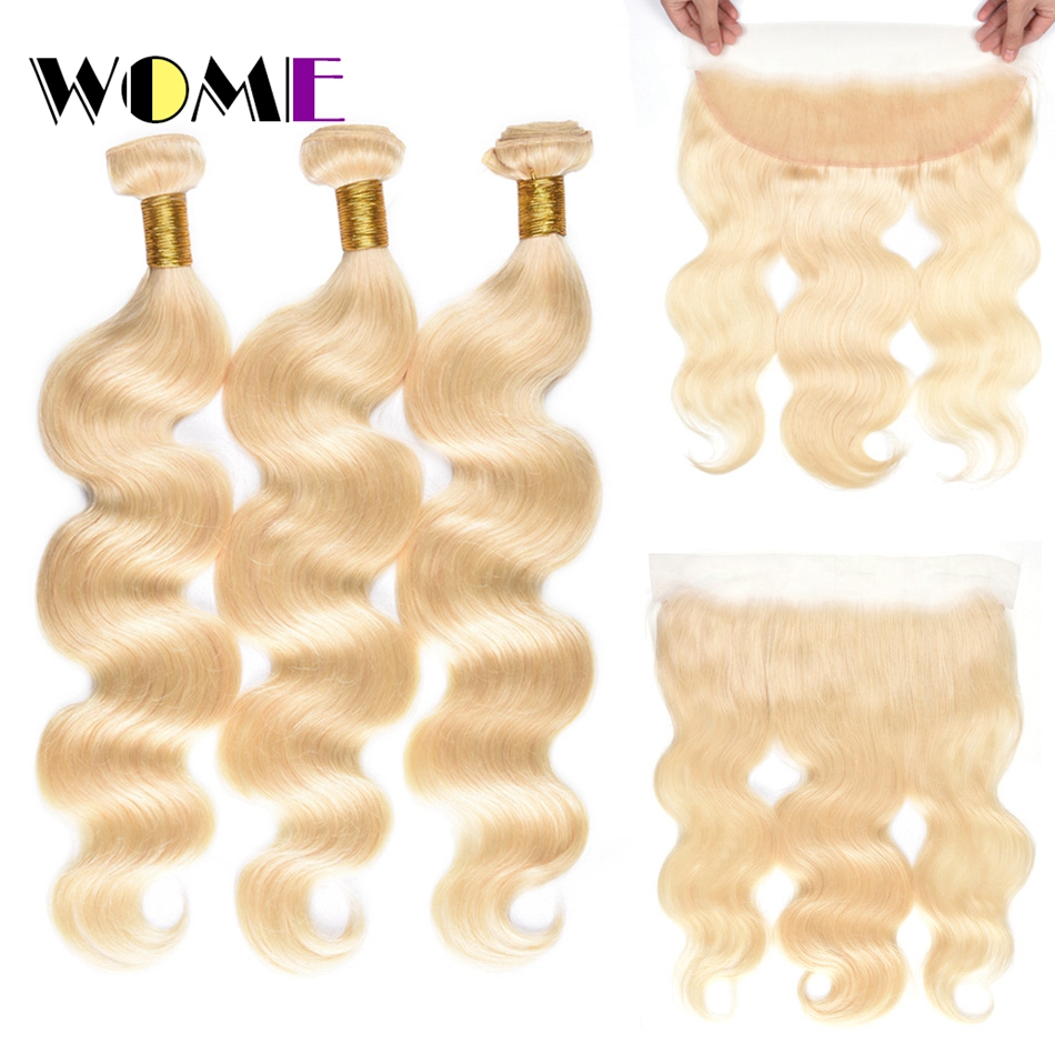 Wome Pre-colored Frontal With Bundles Indian Blonde Body Wave Hair 3 Bundles Hair Extension Cheap 613 Bundles With Closure