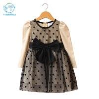 2017 New Autumn Winter Kids Toddlers Girls Dresses Polka Dot Bow Knot Long Sleeve Dress Girl