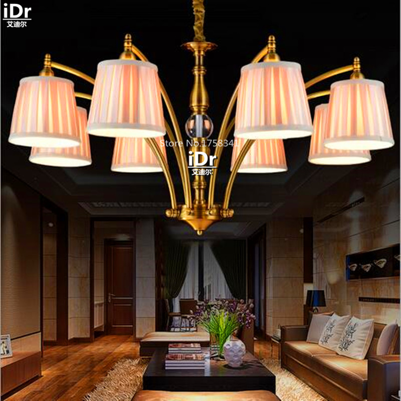 Creative Iron Fabric American Living Room Dining Den Bedroom Lighting Chandeliers OLU 0130