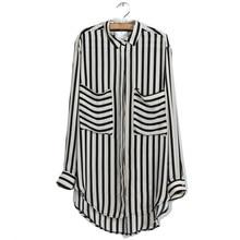Factory Price! New Summer Women Long Sleeve Vertical Striped Chiffon Tops Button Down Shirt Blouse frill trim vertical striped cherry print blouse