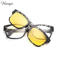 Haoyu Plastic Titanium Tr90 Retro Sunglasses glasses frames Magnet Clip Color film Polarized Sun glasses lenses Gafas De Sol
