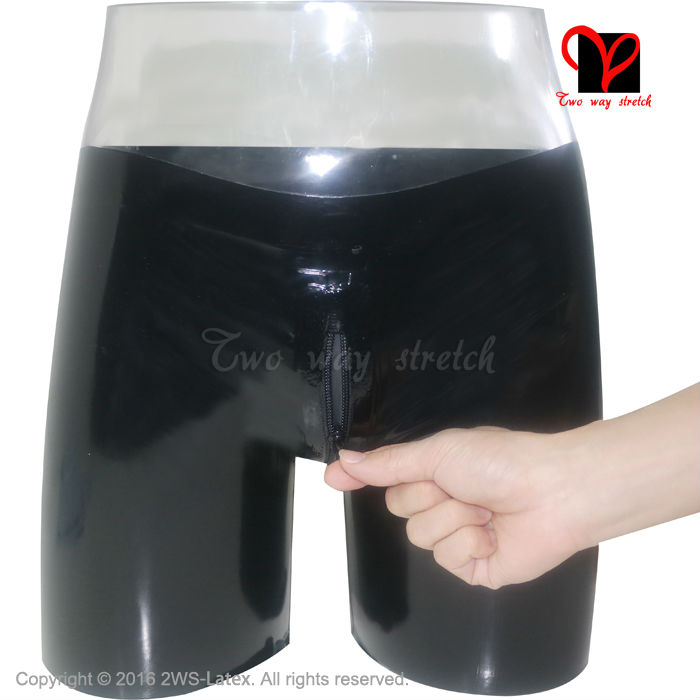 Sexy Latex long leg boxer shorts Crotch Zipper Rubber underwear Hot Pants Gummi Bermuda Bottoms HotPants