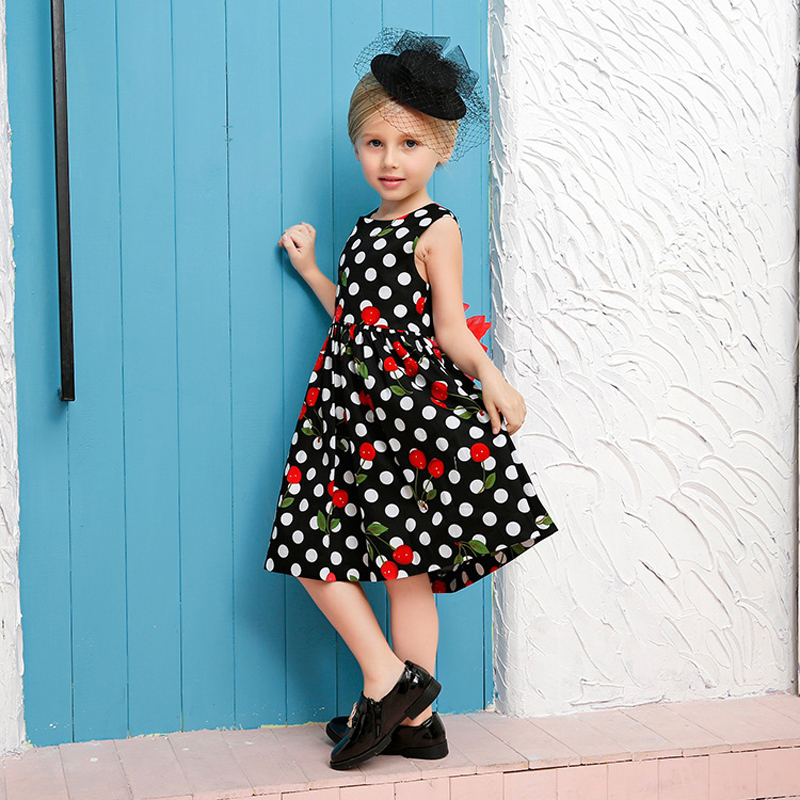 girls dresses 2017 brand summer princess dress baby girl wave point bow clothes for size age 2 3 4 5 6 7 8 years kids