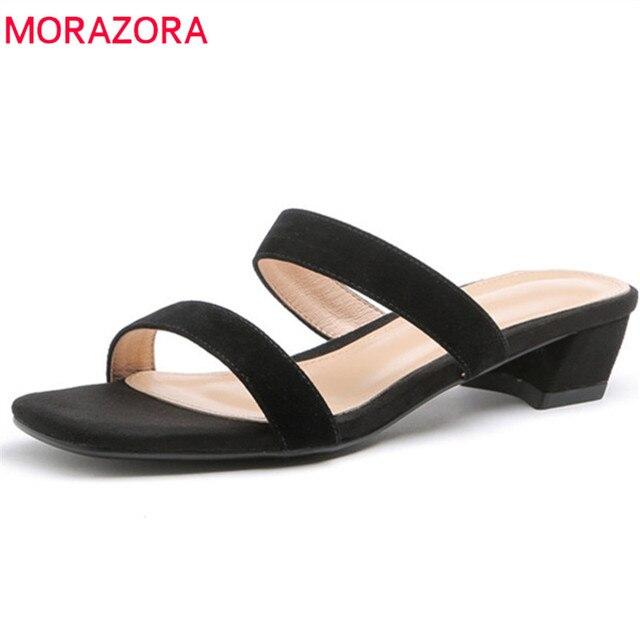 MORAZORA 2019 yeni varış hakiki deri kadın sandalet düz renk kare topuklu ayakkabılar moda rahat yaz ayakkabı kadın siyah