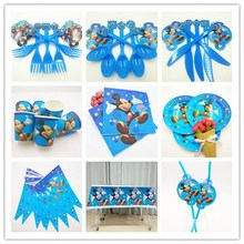 82pc/set Mickey Mouse Kid Theme Birthday Party Decoration Straw Plate Cup Tablecloth Flag Knife Fork Spoon Supplies