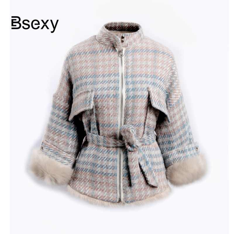 Faux Fur Parka Women 2018 Fashion Both Side Wear Warm Winter Plaid Wool Fur Coat Female Jacket With Sash parkas mujer invierno