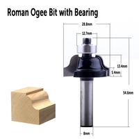 shank כלים 3Pc 8mm Shank נתב ביטים סט הרומית Roundover Bit קוב Bit ogee Bit עם מסב לקבלת כלים לעיבוד עץ (2)