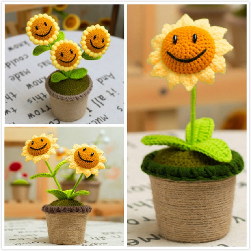 Artificial Flowers Handmade Craft Plants vs. Zombies Model Sunflower Bonsai Woolen Decoration Accessories