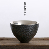 Porcelain silver tea cup 999 silver kung fu cup pure hand made Japanese style coarse pottery cup gift for family and friends