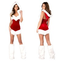 CFYH Women Sexy Christmas Festival Cosplay Costumes Female Red Corduroy Halloween Uniform Role Playing For Adult