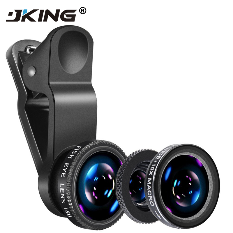 JKING 3 in 1 Wide Angle Macro Fisheye Lens Kit with Clip 0.67x Mobile Phone Fish Eye Lens for iPhone Lens Lentes Mobile Phone