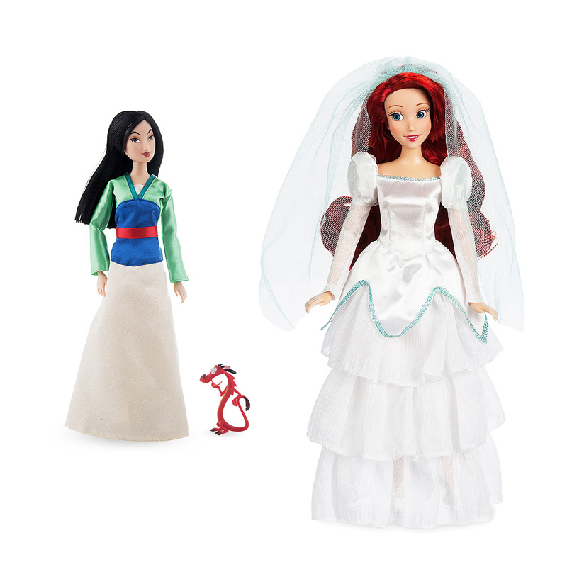 Original DISNEY Store Mulan with Mushu & The Little Mermaid Wedding Dress Ariel Classic princess Doll Figure toys For children disney 10cm q version snow white princess alice mermaid figure alice in wonderland ariel the little mermaid pvc figure model toy