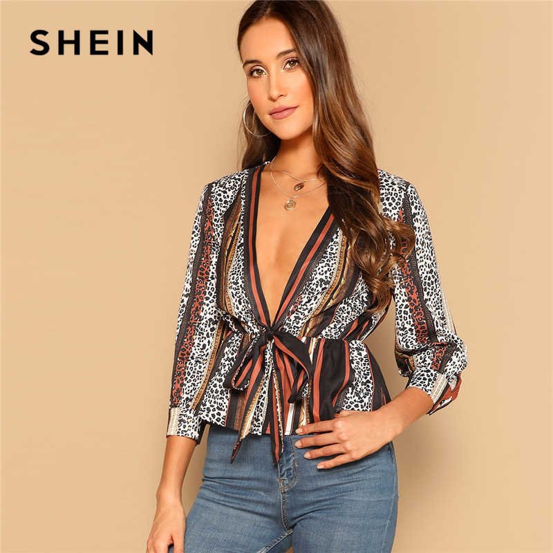 944351e952 SHEIN Sexy Multicolor Knot Front Deep V Neck Leopard Striped Peplum Top  Blouse Women 2019 Summer
