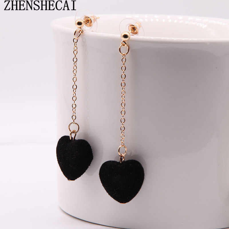 2018 Korean Black Red Grey Green Cute Heart Drop Earrings for Women Girl Ear Jewelry Party Sweet Style  Earrings Brincos e0164