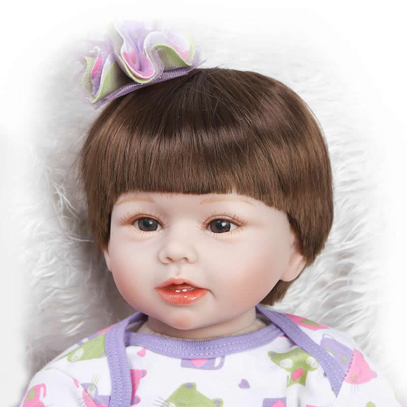 Babies Doll Reborn Realistic 22 Inch Alive Lifelike Newborn Girl Silicone Dolls 55 cm Kids Toy With Synthetic Hair For Sale