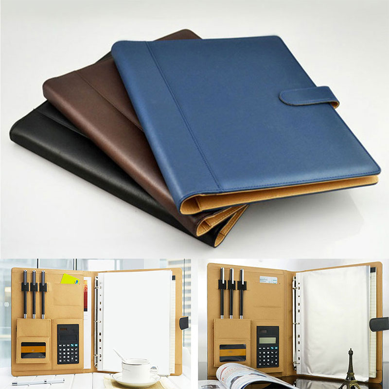 8 Packets File Folder A4 PU Ring Binder Display Notebook Folders With Calculator Document Bag Organizer Business Office Supplies