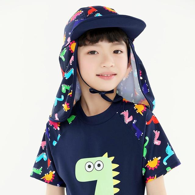 Best Offers Summer Swimming Caps Kids Outdoor Beach Sun Hat Children Neck  Ear Cover Flap UV c5b6a6cafb03