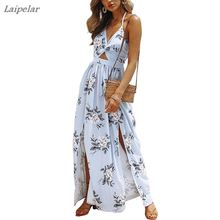 Womens Boho Beach Dresses-Summer Floral Bohemian Spaghetti Strap Slit Cut Out Swing Maxi Dress Laipelar