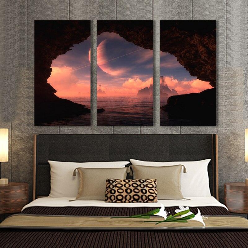 Дешевые Продажа 3 шт. Mountian и ocian абстрактная живопись маслом напечатаны живопись маслом на холсте домашнее украшение Стены Картины