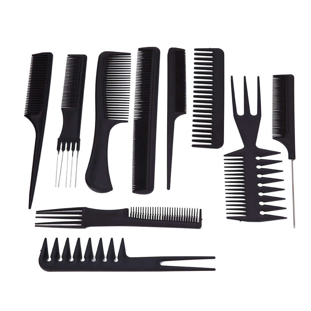 hair styling combs 10pcs hair brushes black professional combs hairdressing 7677