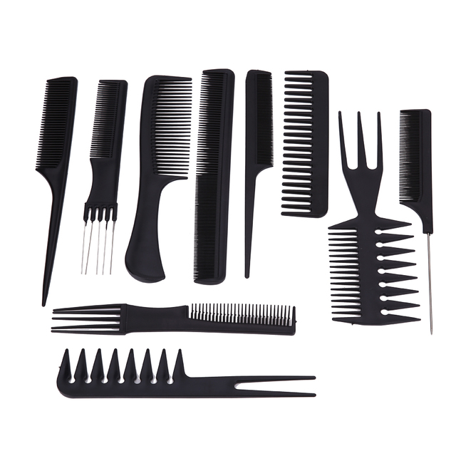 10pcs Hair Brushes Black Professional Combs Hairdressing Salon Styling Barbers Comb Barber Kit