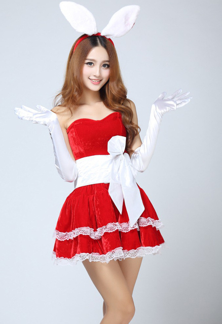 christmas costumes sexy bunny christmas clothes halloween costumes for women christmas cosplay red black pink