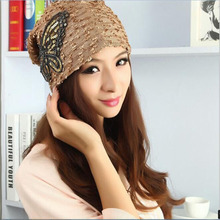 2016 New Fashion Bow Sequins Lace Sleeve Autumn Winter Hat Knitting Circle Cube Cap Home Snapback Hats Bone Manga Ms. Winter Hat