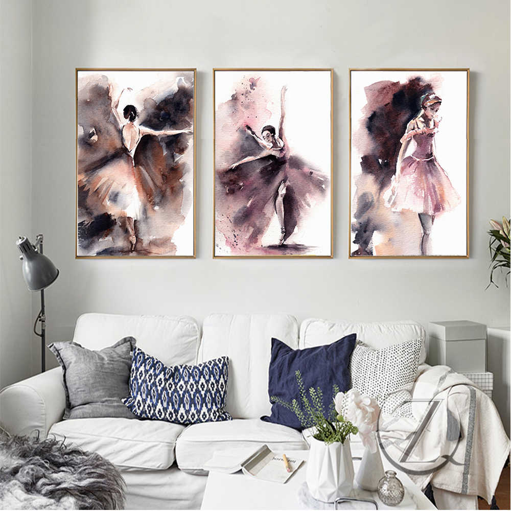 Abstract Ballerina Wall Pictures Home Decor Watercolor Modern Sexy Dancer Posters And Prints For Living Room Cafe Bar Decor
