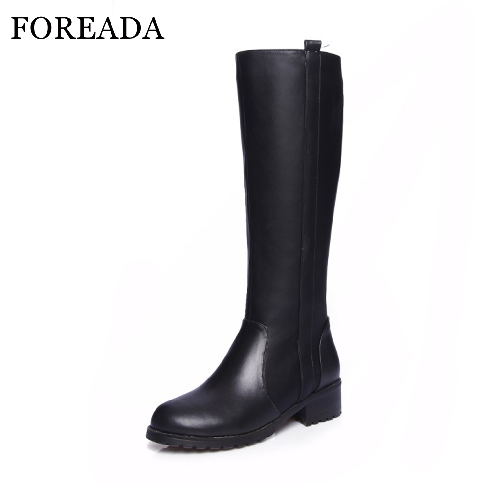 FOREADA Genuine Leather Shoes Women Riding Boots Block Winter Med Heel Knee  High Boots Motorcycle Boots e29e780b6c93