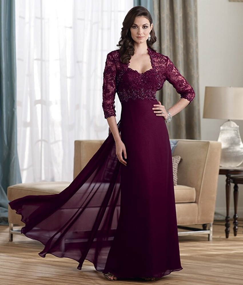 Burgundy elegant dress for mother of the bride lace for Dress and jacket outfits for weddings