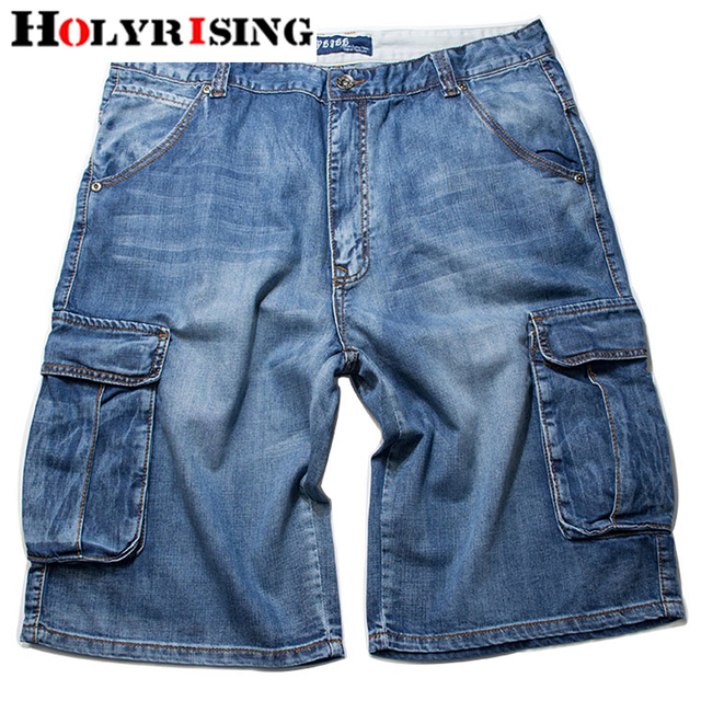 Holyrising Summer Jeans Men Distressed Jean Pockets Streetwear Zipper Jeans Man Calf-Length Blue Denim Trousers Plus Szie 30-46