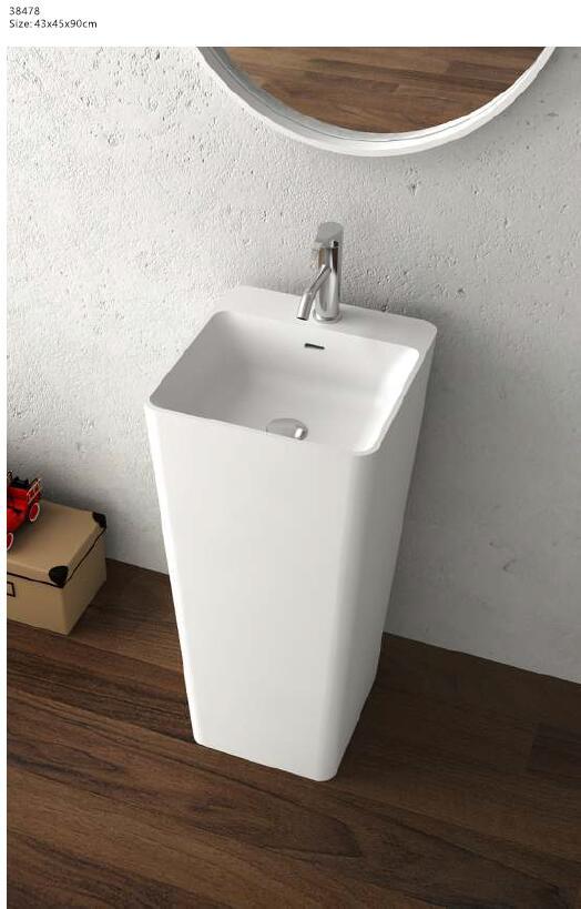 Corian Bathroom Pedestal Wash Basin Freestanding Solid Surface Hand Sink Cloakroom Vanity Wash Sink RS38478