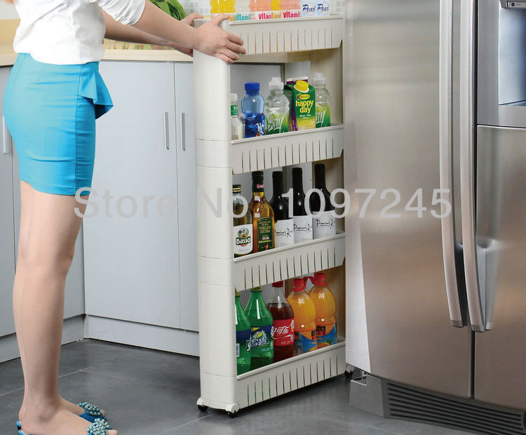 Aliexpress com   Buy New Kitchen Storage Shelf Cracks Frame Bathroom Rack  Pulley Movable Space Saving 4 Layers from Reliable bathroom suppliers on  Asian. Aliexpress com   Buy New Kitchen Storage Shelf Cracks Frame