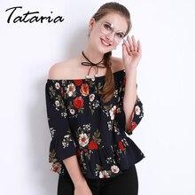Blusas de Verão das mulheres Fora do ombro Encabeça Corpo Femme Feminino Chiffon Branco Plissado Blusa E Camisas Florais Para Mulheres Tataria