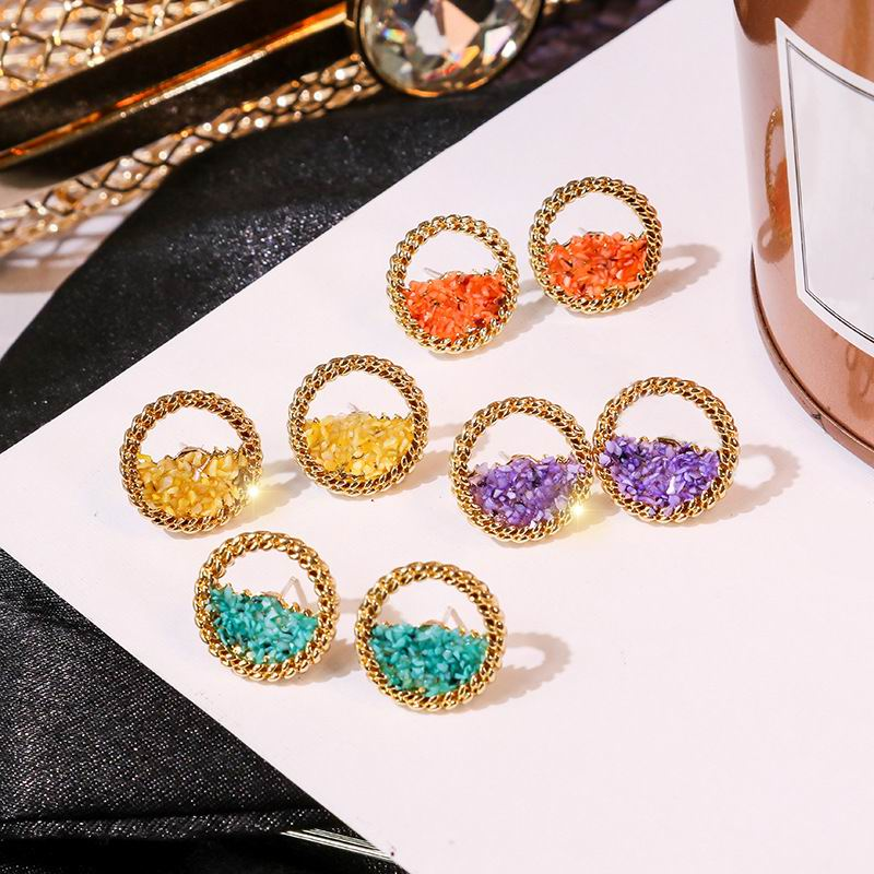 Fashion Druzy Half Circle Stud Earrings For Women 2019 New Handmade Colorful Round Small Earrings
