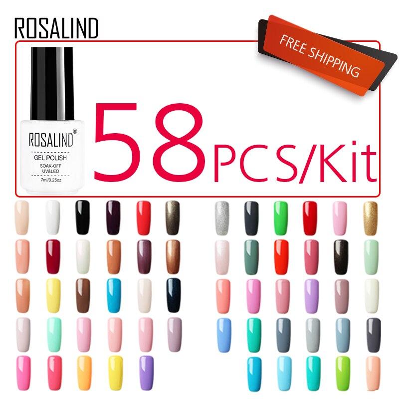 ROSALIND 58PCS LOT Gel Nail Polish Set For Manicure Kit Pure Color Series UV LED Lamp