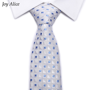 High-grade New fashion Blue White Plaid tie men 8 cm width group necktie fit wedding party necktie for men corbatas L10028-7