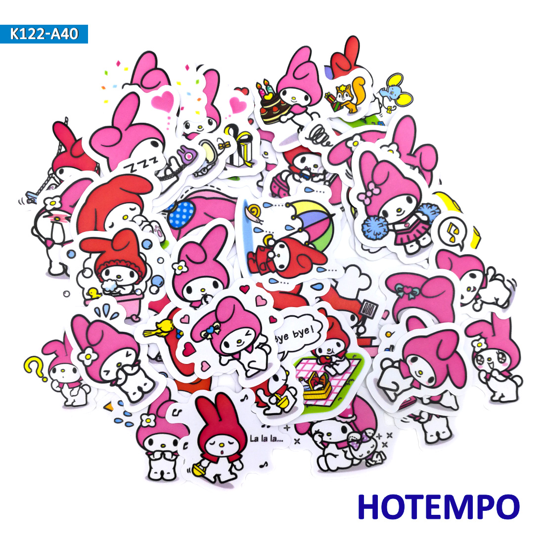 40pcs Sanrio Pink Melody Cartoon Cute Stickers For Kid Toy Children Girl Letter Stationery Scrapbooking Stickers