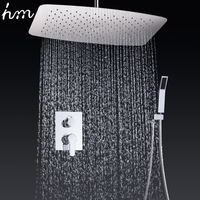 Bathroom Faucets 35 55cm Air Pressured Water Saving Shower Head Set Brass Chrome Wall Mounted Mixer