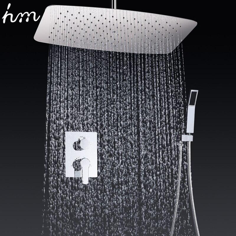 Torneiras de banheiro 35*55 cm o Ar Pressurizado de Poupança de Água cabeça de Chuveiro Set Latão Cromado Fixado Na Parede Mixer Chuveiro Controlador sistema