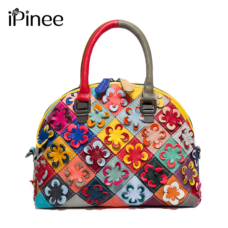 iPinee Vintage Famous Designer Brand Bags Women Leather Handbags Genuine Leather Shell Bag Cowhide Flower Lady Bag