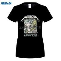 GILDAN 2017 Women S Black T Shirt 100 Cotton Skulls Printed Tshirts Heavy Metal Rock Hip