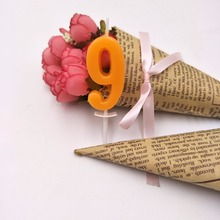 Orange Nine Candle Kids Baby Birthday Anniversary Cake Numbers Age Party Supplies Decoration
