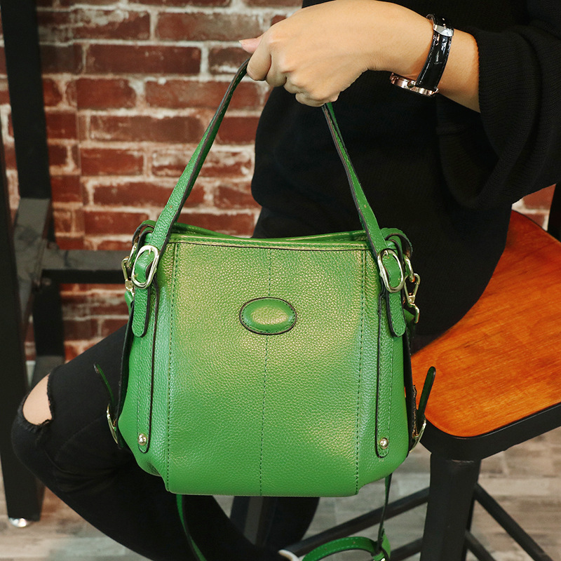 Women\'S Genuine Leather Handbags European And American Style Women Shoulder Crossbody Bags Women Solid Color Bucket Bags Lady