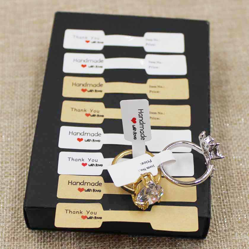 1000PCS Vintage Self Seal Thank You Labels White/kraft Handmade With Love Folded Jewelry Sticker Labels Custom Cost Extra
