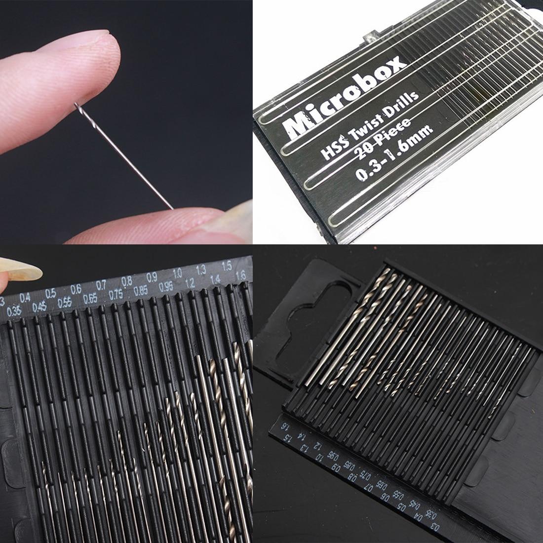 20Pcs Mini Drill Bit High Speed Steel HSS Micro Twist Drill Bit Set 0.3mm-1.6mm Model Craft Woodwork