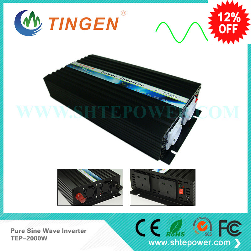 Free Shipping, Off Grid Tie Inverter 2000W DC12V/24V Pure Sine Wave Inverter for Wind Solar System free shipping 600w wind grid tie inverter with lcd data for 12v 24v ac wind turbine 90 260vac no need controller and battery