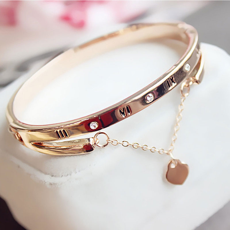 Luxury Rose Gold Stainless Steel Bracelets Bangles Female Heart Forever Love Charm Bracelet for Woman Couple Gift Bijoux Femme MINI