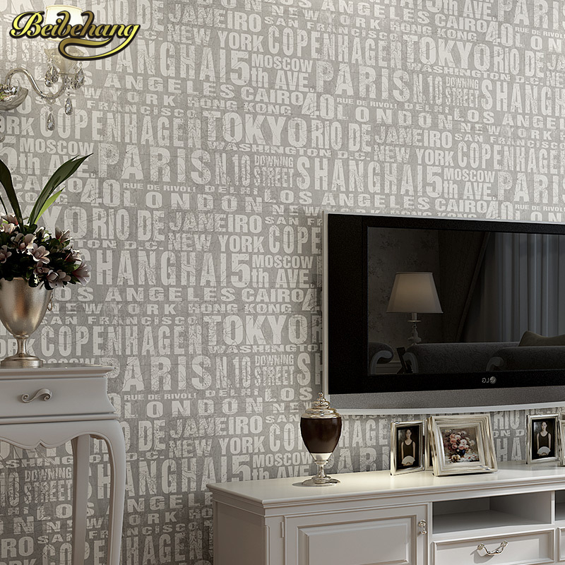 beibehang wall paper English letters retro British style high-end imports of non-woven wallpaper the living room backdrop europe type restoring ancient ways the flag of non woven fabrics do old sitting room the bedroom tv setting wall paper sweet